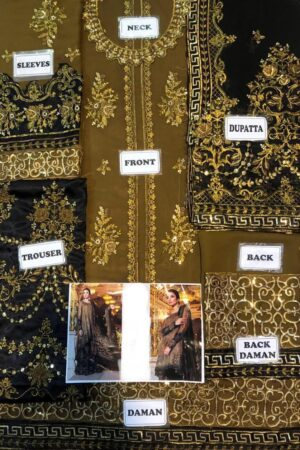 MARIA B. OXIDIZED GOLD & BLACK (BD-1508) CHIFFON MASTER REPLICA