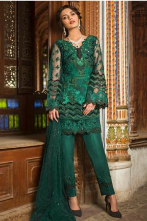 Zainab Chottani Emerald Sparkle Chiffon Master Replica