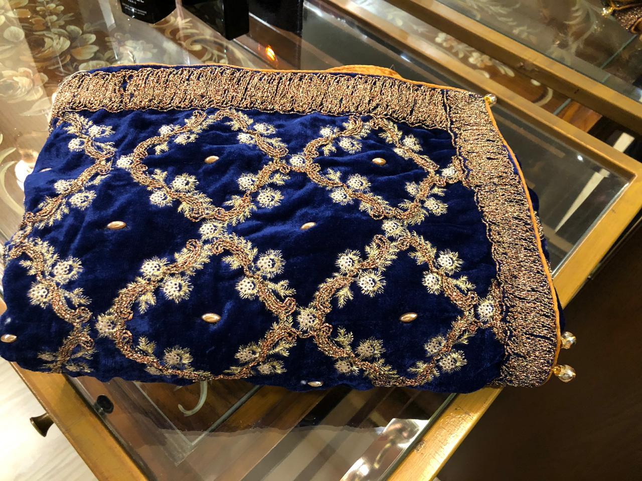 Stylish Designer Royal Blue Velvet Shawl Master Replica 2019 Master Replica Pakistan