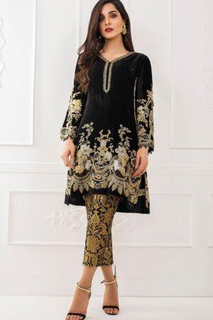 Elegant TEENA DURANI Velvet Dress Master Copy 2019