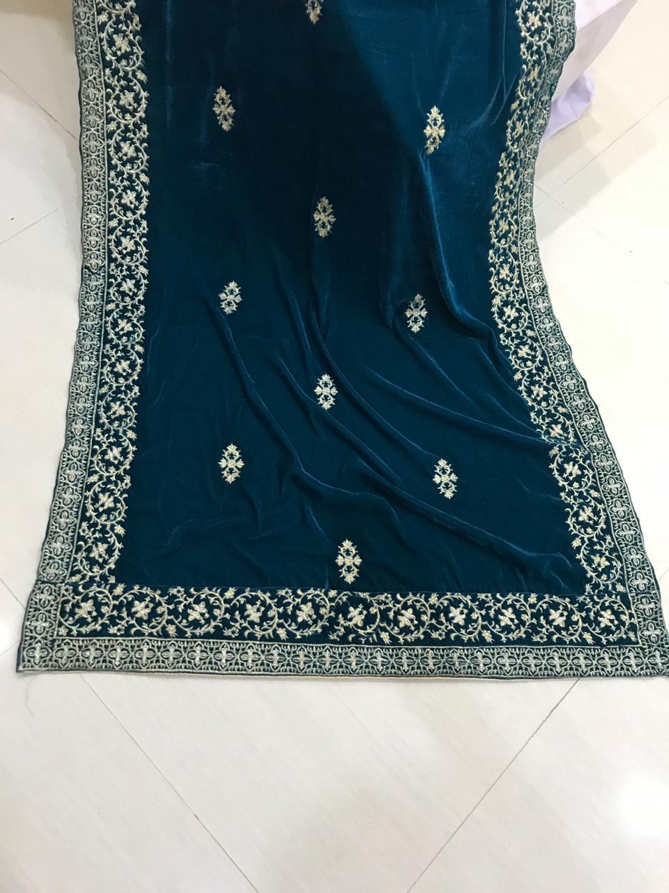 Elegant Designer Blue Green Velvet Shawl Master Replica Master Replica Pakistan