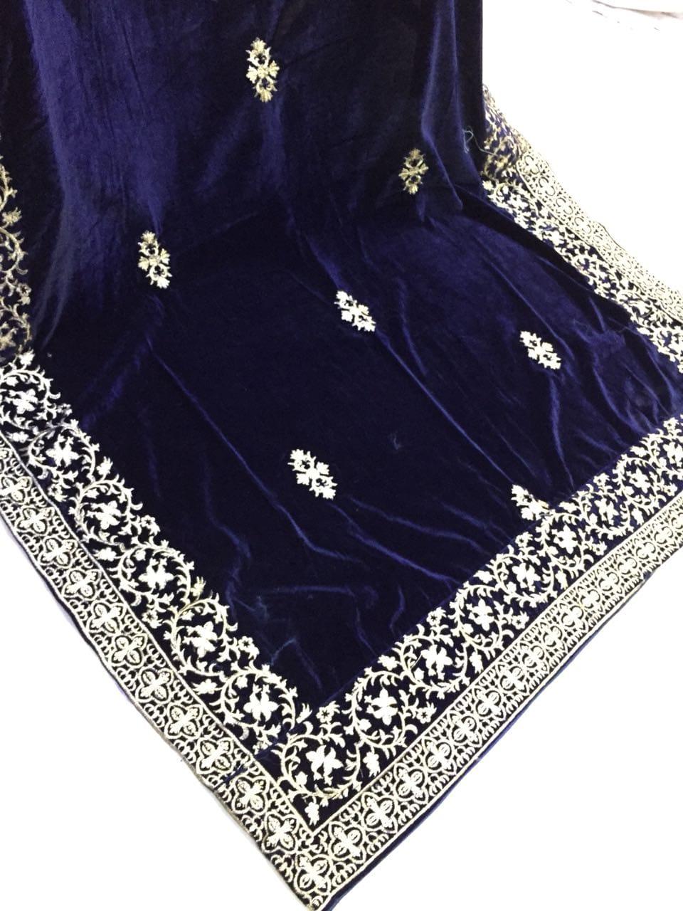 Contemporary Designer Navy Blue Velvet Shawl Master Replica Master Replica Pakistan