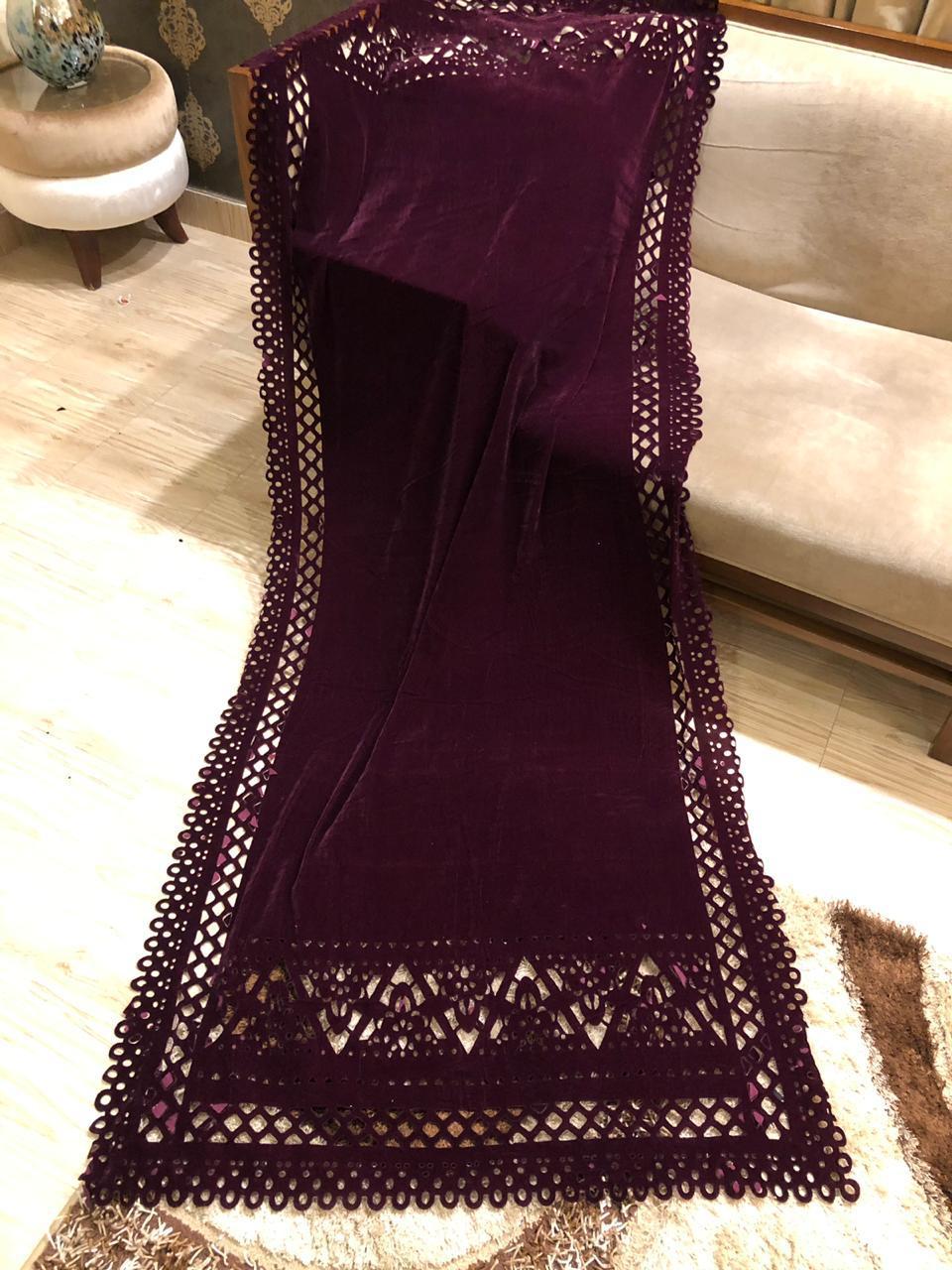 Modish Designer Plum Velvet Shawl Master Replica 2019 Master Replica Pakistan