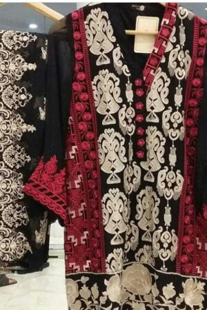 agha noor red and black dress