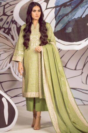 alkaram green lawn dress