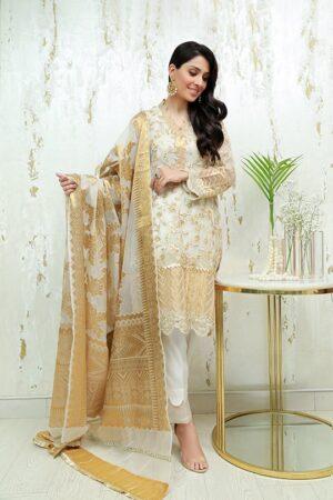 ayeza khan off white and golden dress