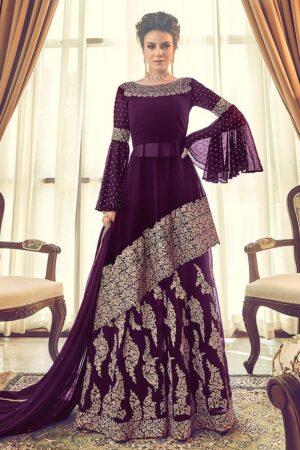 chiffon purple dress