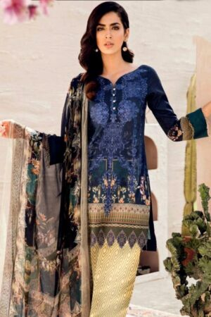 iznik lawn blue dress