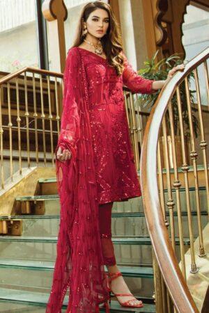 serene red chiffon dress