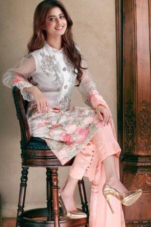 sajal ali white dress