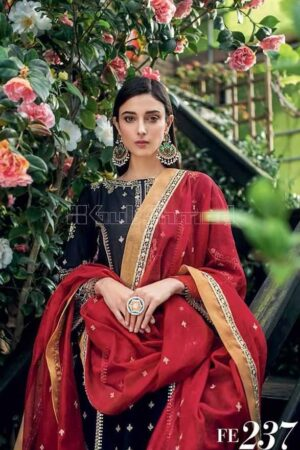 gul ahmed red and black suit