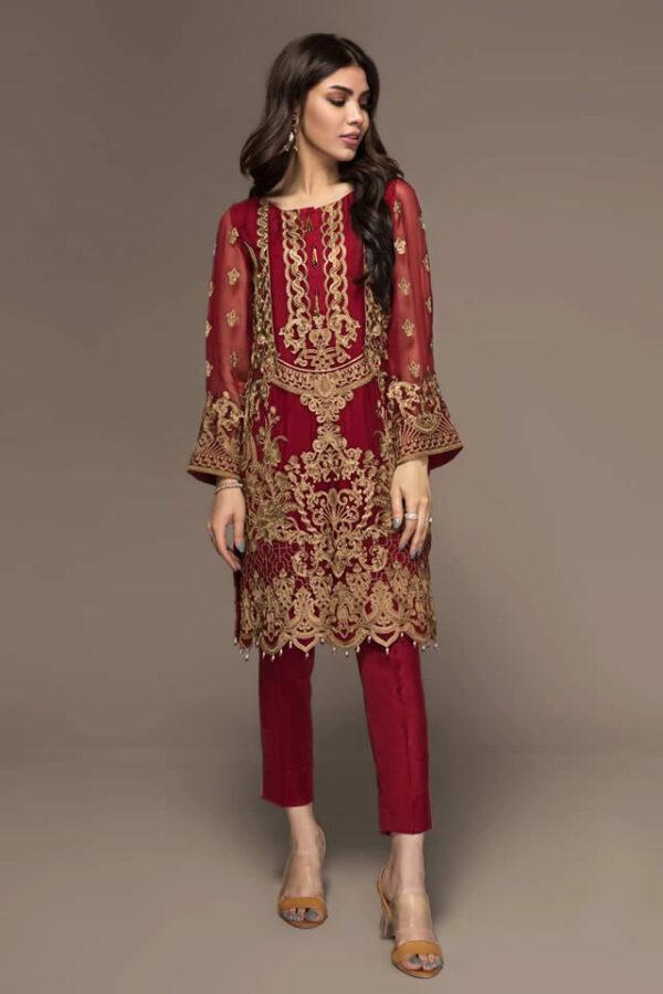 jazmin red chiffon dress