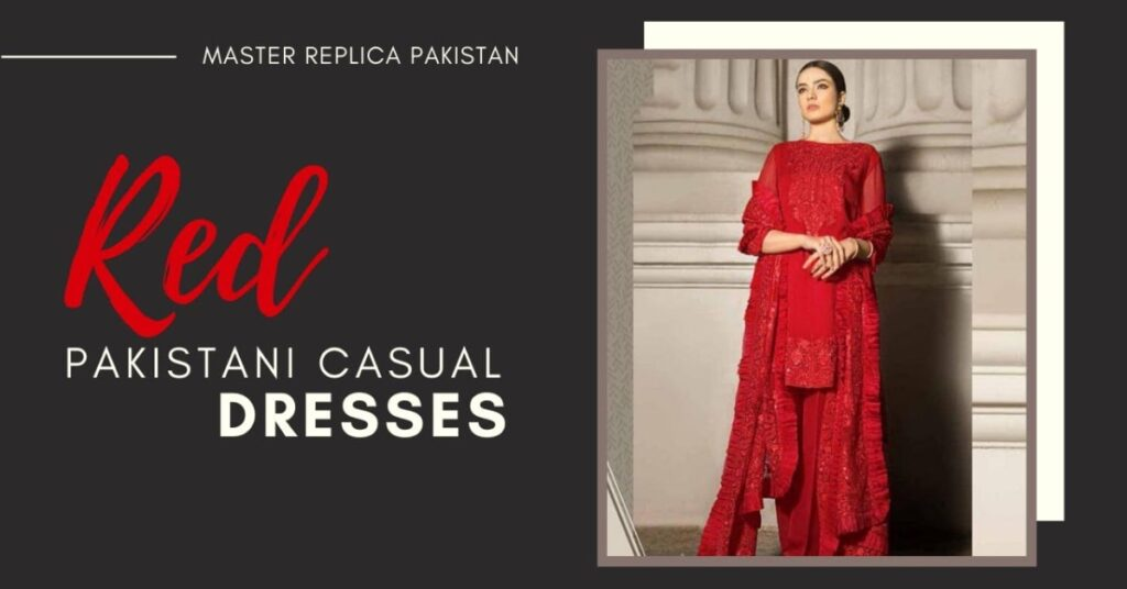 Red Pakistani Casual Fancy Dresses