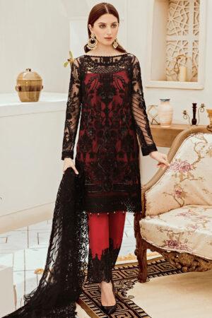 afrozeh net black and red dress