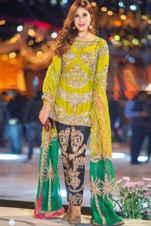 yellow mehndi wedding dress