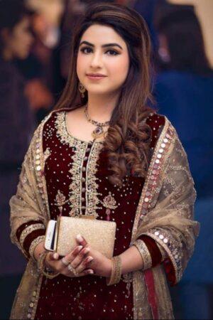 maroon party dress pakistani