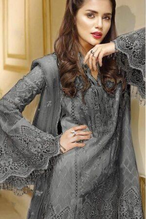 anaya net gray dress
