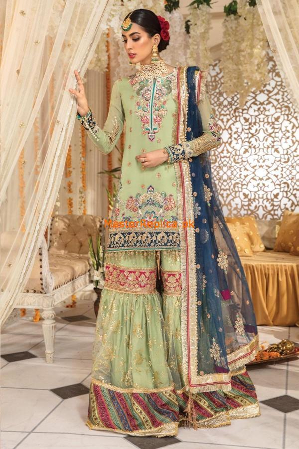 green blue wedding dress pakistani