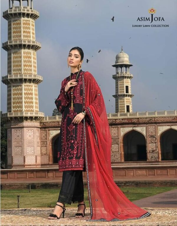 red and black lawn dress