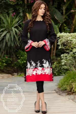 red and black lawn kurti design