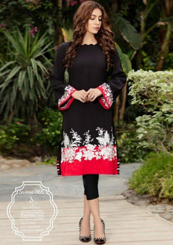 red and black lawn kurti design