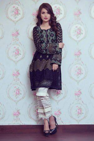black chiffon embroidered dress