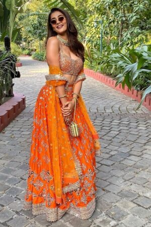 orange colour wedding lehenga