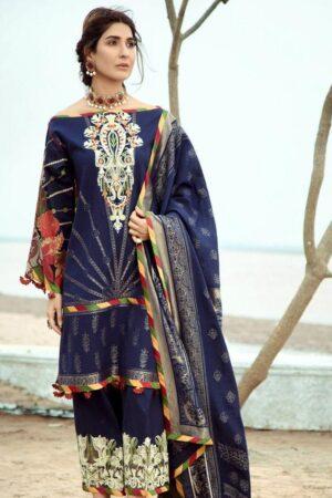 firdous blue lawn dress design