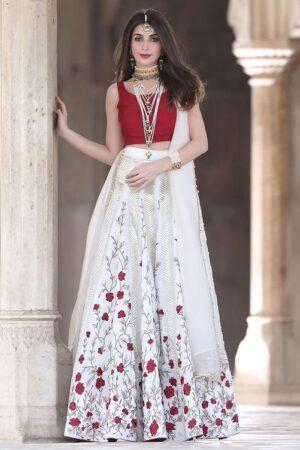 red and white indian wedding lehenga