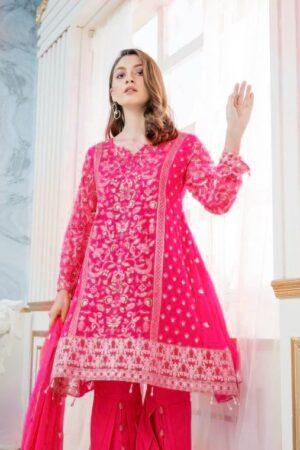 maryam and maria pink chiffon dress
