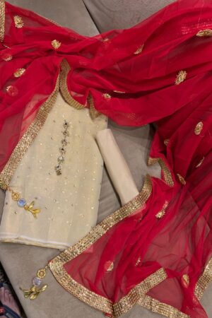 simple white dress with red dupatta