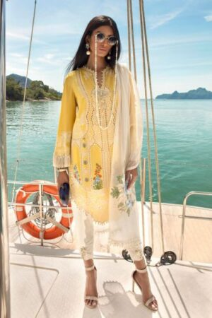 sana safinaz yellow cut work dress