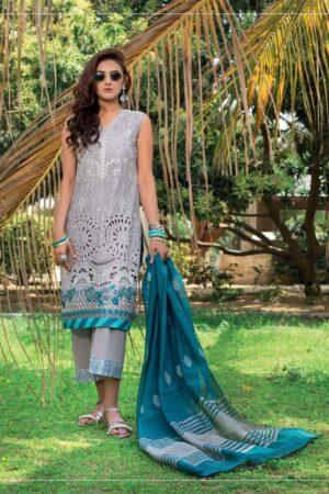 gray lawn cut work dress with blue dupatta