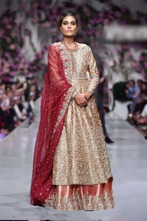 zainab chottani golden bridal wear
