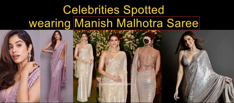Famous celebrities in Manish Malhotra saree replica designs and prices